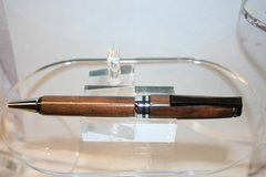 Handcrafted Wooden Pen - African Wild Pear Bowtie Twist Pen in a Beautiful Chrome/Black Chrome Finish