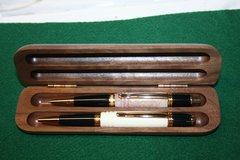 Handcrafted Elk Antler Pen - Elk Antler Executive Twist Pen and Click Pencil Set in a Bright 24 ct Gold Finish with a Wood Presentation Box