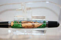Handcrafted Wooden Pen - Deer In The Woods Inlay Twist Pen in a Bright Chrome Finish