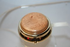Handcrafted Wooden Mini Pill or Secret Box - Fine African Mahogany Cap in a 24 ct Gold Finished Pill or Secret Box