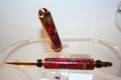 Handcrafted Acrylic Pen - Sedona Roller Ball Pen in Red Pearl Acrylic and Pine Cones Amalgam-Mutt Finished in a Bright Gold Finish