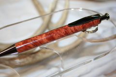 Handcrafted Wooden Pen - Red Mallee Burl Longwood Click Pen in a Beautiful Black Titanium Finish