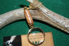 Handcrafted Southeast Asian Lavingia Burl Mini Magnifying Glass Pendant in a Beautiful 24 ct Gold Finish