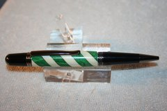 Handcrafted Wooden Pen - Green and White Candy Cane Executive Twist Pen in Stunning Gunmetal