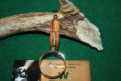 Handcrafted Marblewood Mini Magnifying Glass Pendant in a Beautiful 24 ct Gold Finish