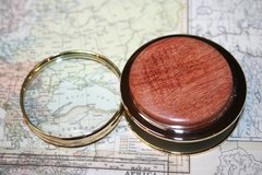 Handcrafted West African Etimoe (Rough Cut) Magnifying Glass Paperweight in a Beautiful 24 ct Gold Finish