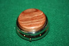 Handcrafted Wooden Mini Pill or Secret Box - Fine South American Lyptus Cap in a Pewter Finished Pill Box/Secret Box