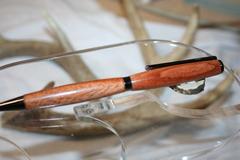 Handcrafted Wooden Pen - West African Etimoe Slim Twist Pen Finished in Beautiful Gunmetal
