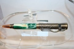 Handcrafted Alligator Jaw Pen - Lever Action Green Gator & Pearl Alligator Jaw Pen Finished in Beautiful Antique Brass
