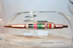 Handcrafted Wooden Pen - Holiday Nutcracker Executive Click Inlay Pen Finished in Bright Two-Tone Copper