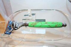 Handcrafted Razor Handle in Gaspeite Tru-Stone for Gillette Fusion Pro-Glide, Finished in Bright Chrome