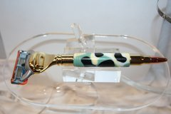 Handcrafted Bullet Razor Handle in Nuevo Camo Acrylic for Gillette Fusion Pro Glide Finished in Bright Gold