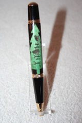 Handcrafted Wooden Pen - Christmas Tree Inlay Executive Twist Pen - Happy Holidays