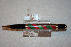 Handcrafted Wooden Pen - Red and Green Candy Cane Executive Twist Pen in Bright Gold