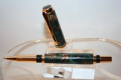 Handcrafted Acrylic Pen - Jr Gentlemen Roller Ball Pen in Green Pearl Acrylic and Pine Cones Amalgam-Mutt Finished in a Bright Gold Finish