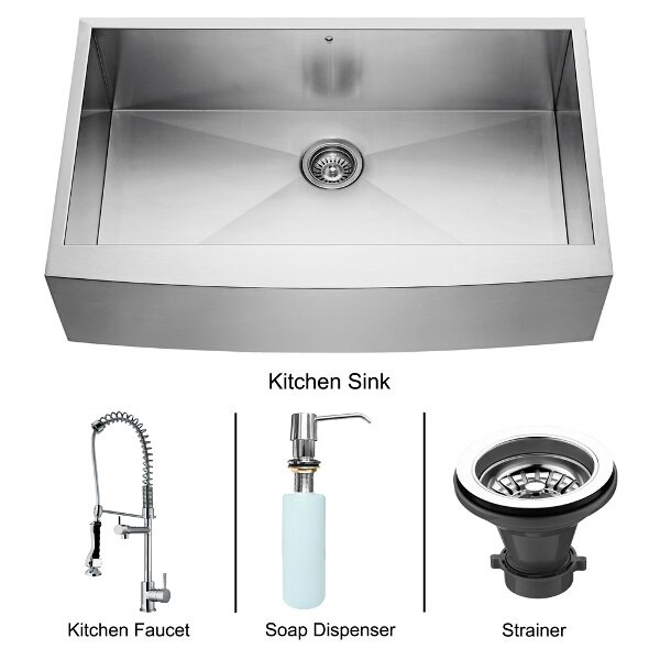 Farmhouse Stainless Steel Kitchen Sink Faucet And