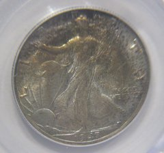 1947-D Gem, toned PCGS MS65 50c