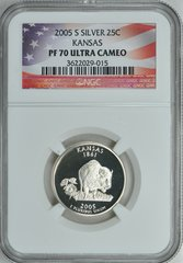 "2005-S Kansas 25c NGC PF70 Ultra Cameo ""Rock Chalk Jayhawk"""
