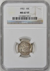 1952 Roosevelt 10c, NGC 67FT, great toned GEM