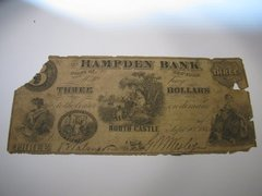 1862 $3 Hampden Bank, North Castle , RARE