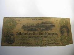 1866 $2 Tallahassee Railroad Co
