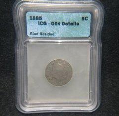 1885 Liberty 5c ICG-G4 Details, Glue Residue Key date