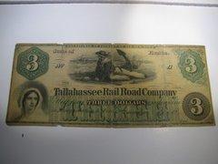 1866 $3 Tallahasseee RR Co
