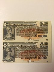 1931 California Packing Corporation $25 Bond Coupons Scrip Currency Block of 2