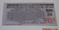 1899 Taunton Cotton Mill Company, $30 coupon on Gold Bond Sinking Fund