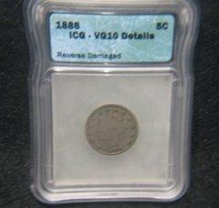 1886 Liberty 5c ICG-VG10 details, key date