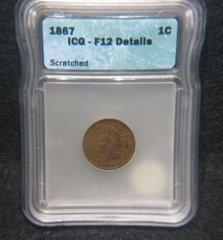 1867 1c ICG F12 details scratched