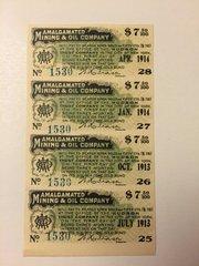 1907 Amalgamated Mining and Oil Company $7.50 Bond Interest Coupons