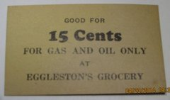 15c Eggleston's Grocery Good for Gas & Oil Only Sold