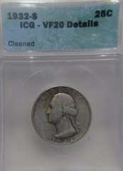 1932-S Washington 25c ICG-VF20 details Cleaned SOLD