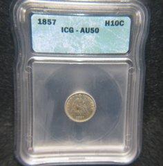1857 Seated Liberty H10C ICG-AU50
