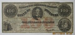 1863 $100 State of Missouri isssued note