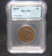1819 Large Cent, Large Date ICG-F12