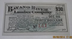 1907 Bayano River Lumber Co, $30 coupon payable in gold coin