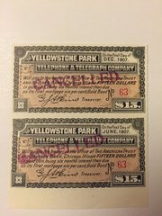 1901 Yellowstone Park Telephone and Telegraph Company $15 Bond Interest Coupons