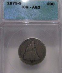 1875S Seated Liberty 20c ICG-AG3