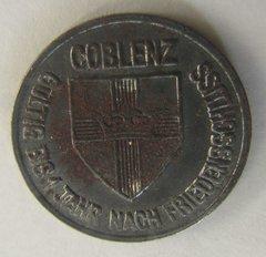 """1918 Coblenz 10 pfg """"Notgeld Coin"""" Iron"""