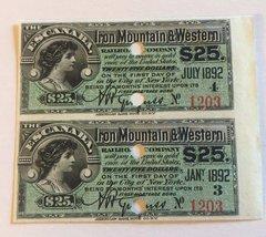 1890 Escanaba, Iron Mountain & Western Railroad Company $25 Bond Interest