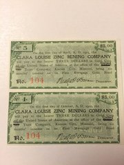 1900 Clara Louise Zinc Mining Company $3 Bond Interest Coupons