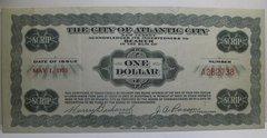 1933, May 1 $1 City of Atlantic City, NJ Rare Variety