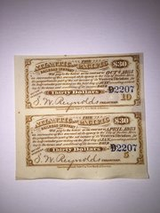 1880 Atlantic and Pacific Railroad $30 Bond Coupons Scrip Block of 2 Pcs. Rare