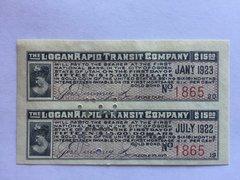 1914 Logan Rapid Transit Co. $15 Bond Coupons Scrip Currency 2 pcs. Rare Utah RR