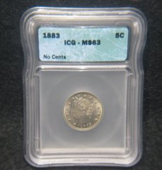 "1883 Liberty 5c ""no cents"" ICG-MS63"
