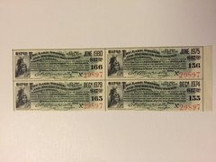 1903 Lake Shore & Michigan Railway $17.50 Bond Coupons Scrip Block of 4 Pcs.