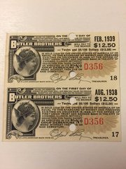 1930 Butler Brothers $12.50 Bond Interest Coupons Payable in GOLD