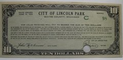 1934 $10 City of Lincoln Park